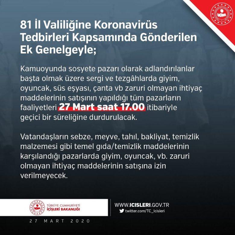 DUYURU Bakanlığımız tarafından 81 İl Valiliğine gönderilen Koronavirüs Tedbirleri Kapsamında gönderilen ek genelge